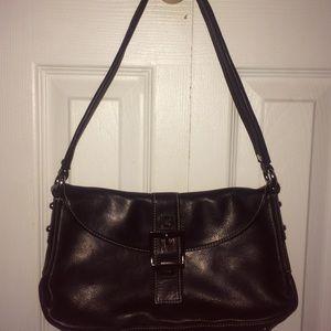 Vintage Black Leather Perlina purse handbag
